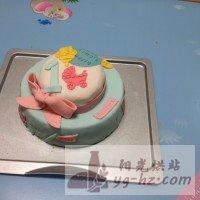 娃周岁的翻糖生日蛋糕的做法图解1