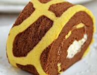长颈鹿花纹奶油蛋糕卷——朴素的蛋糕卷也生动形象了哦