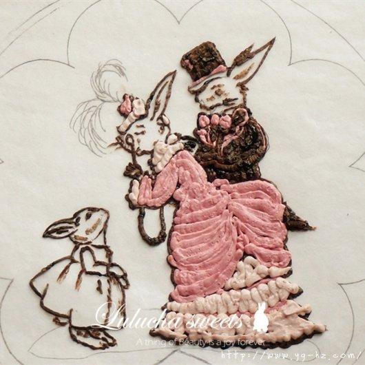 奶油霜转印蛋糕(彩铅漫画质感)的做法 步骤8