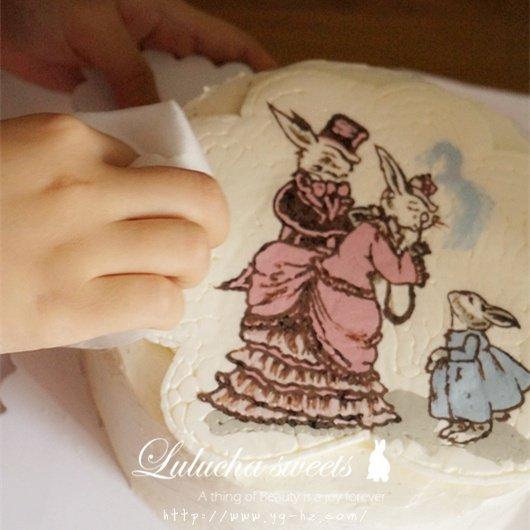 奶油霜转印蛋糕(彩铅漫画质感)的做法 步骤15