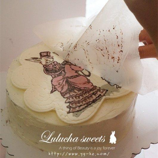 奶油霜转印蛋糕(彩铅漫画质感)的做法 步骤14