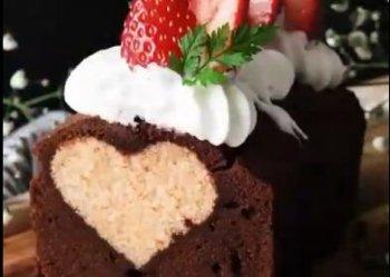 制作爱心巧克力蛋糕的视频教程(切开里面是心形)