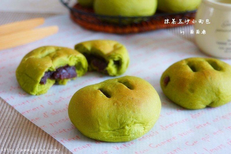 抹茶豆沙小面包(无油脂)的做法