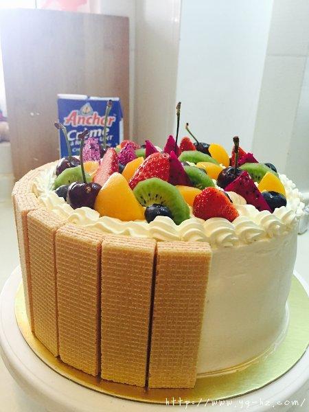 生日蛋糕教程【威化饼干围边】的做法 步骤17