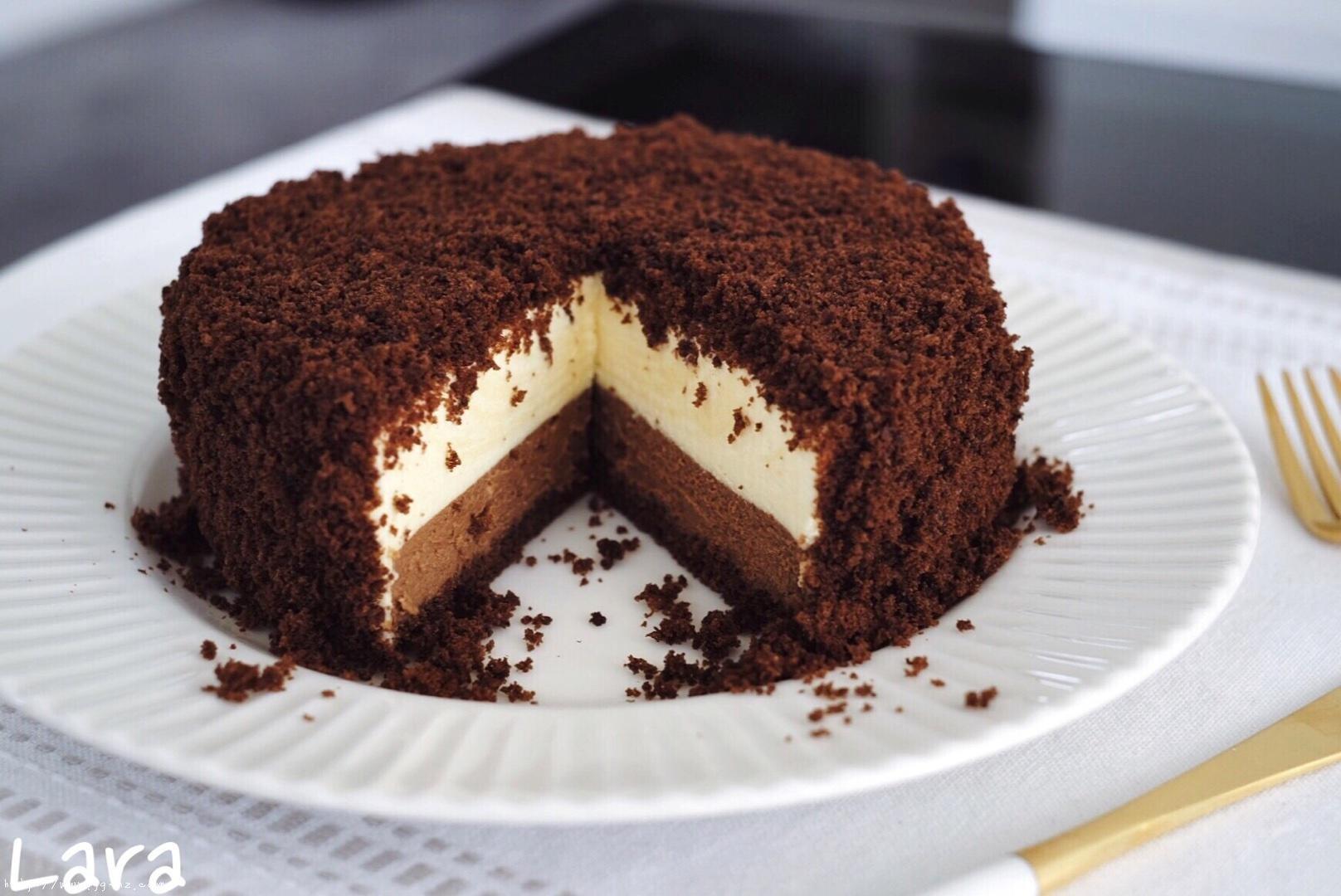 <LeTao> 巧克力双层芝士蛋糕配方大公开!!的做法 步骤21