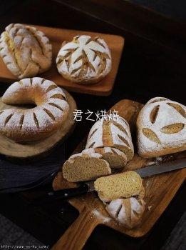 五种造型的100%全麦面包