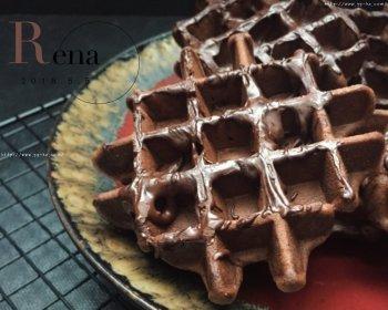 巧克力酱可可华夫饼(松
