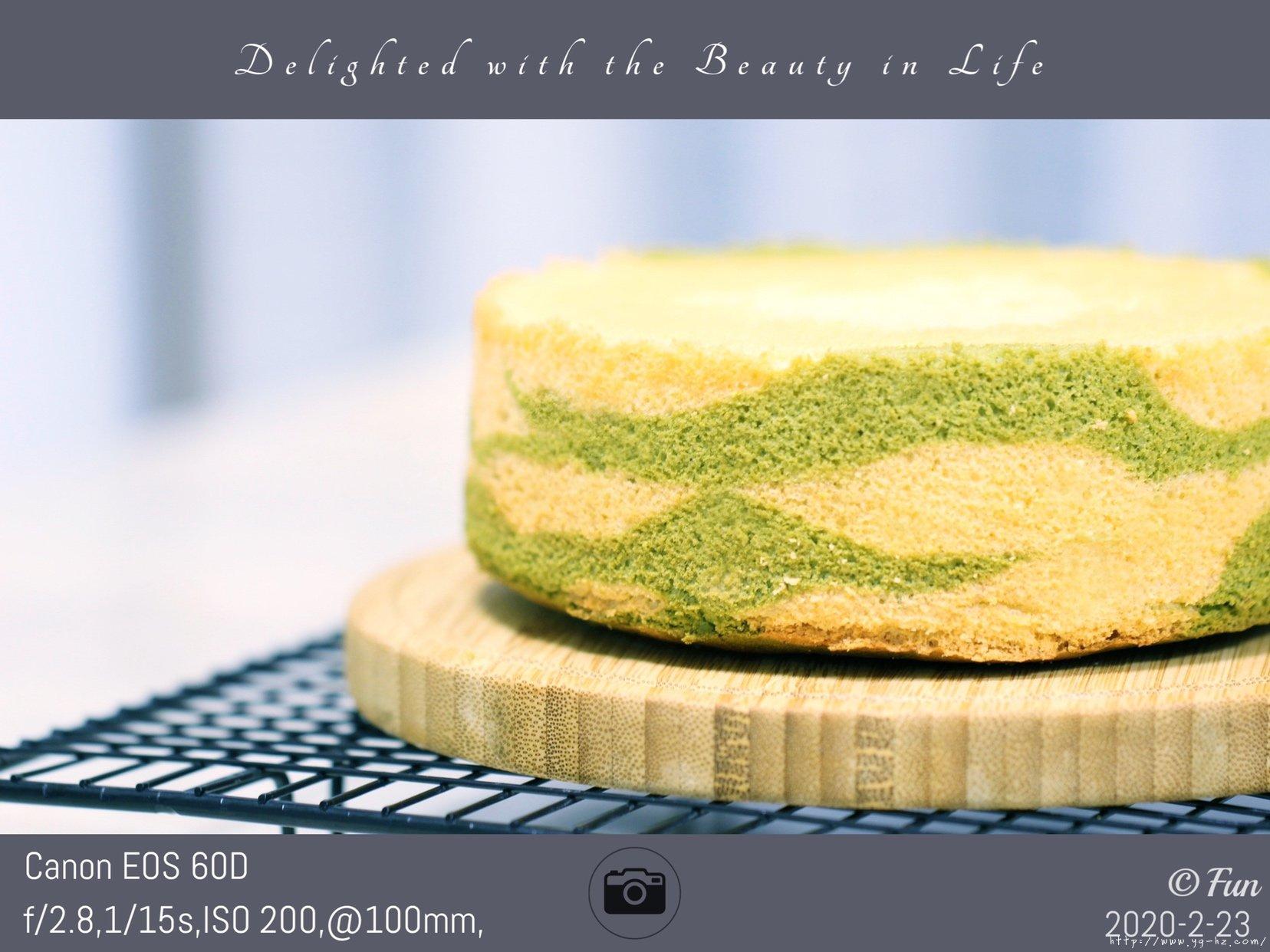 六寸#抹茶斑马纹酸奶戚风蛋糕的做法 步骤22
