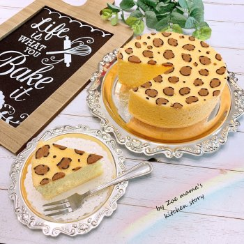 6寸 原味彩绘戚风蛋糕简单步骤却能烤出颜值超高的豹纹戚风蛋糕的做法步骤图