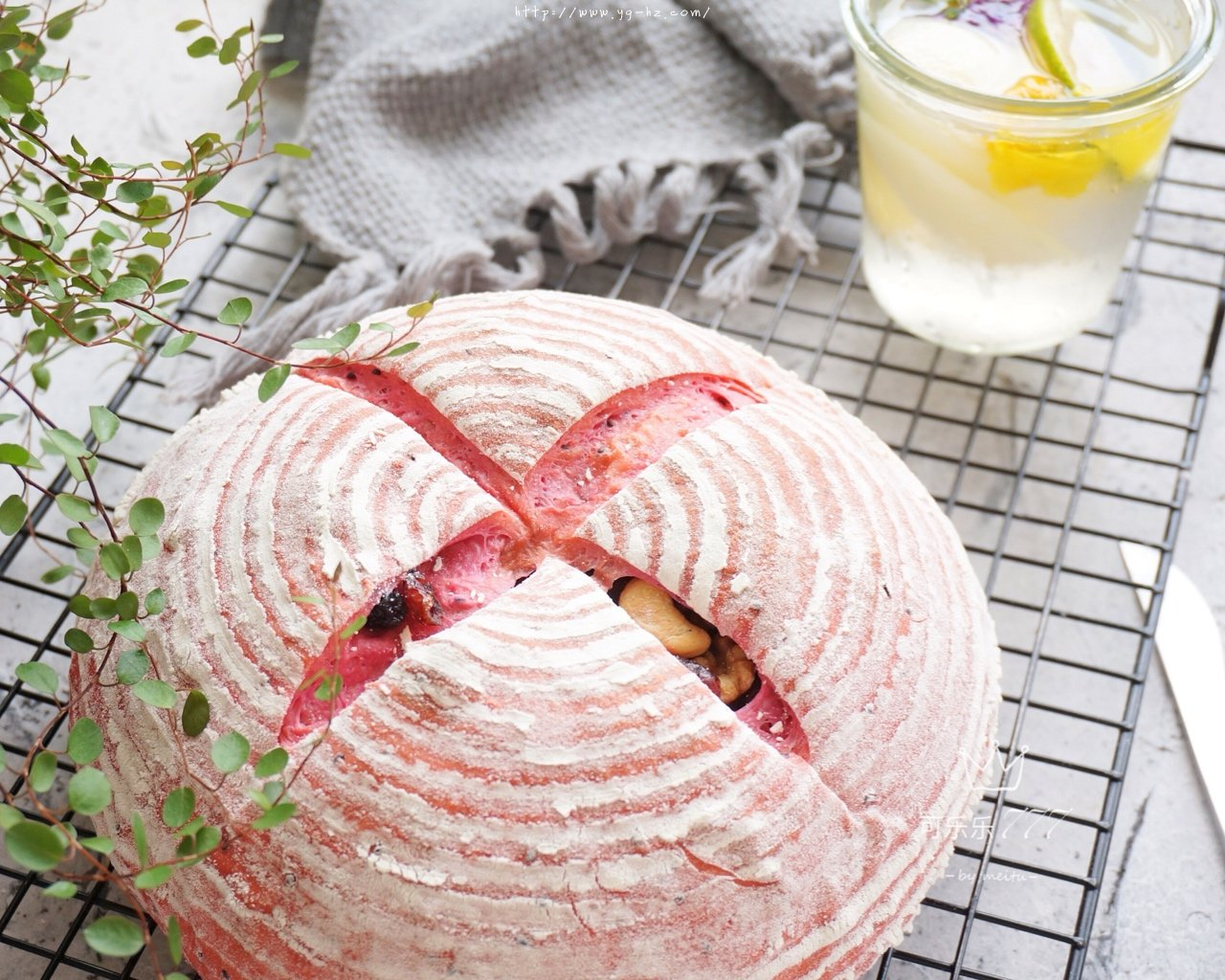 火龙果全麦坚果面包的做法