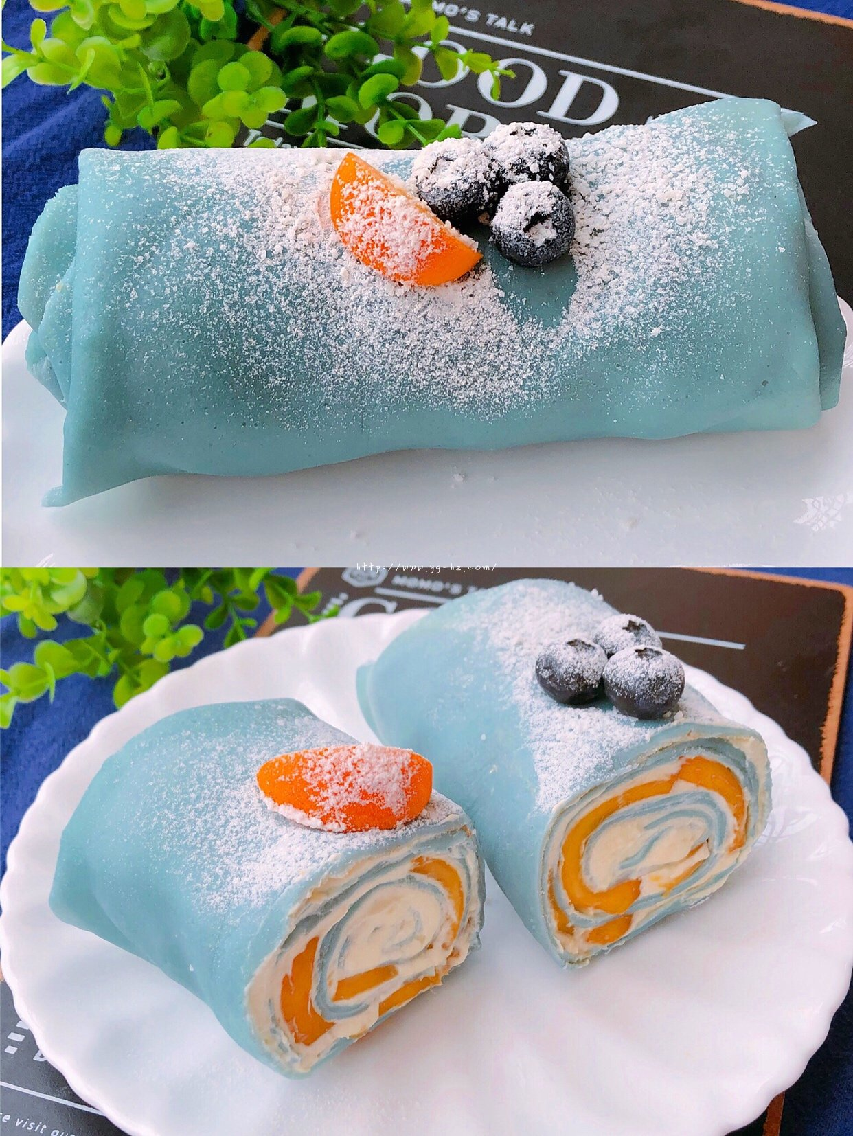 雾霾蓝芒果毛巾卷的做法