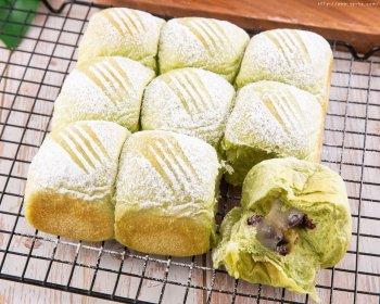 抹茶红豆麻薯小餐包的做法步骤图
