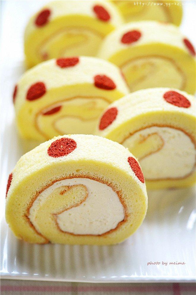 红曲波点蛋糕卷--给新年的蛋糕加点喜庆的做法
