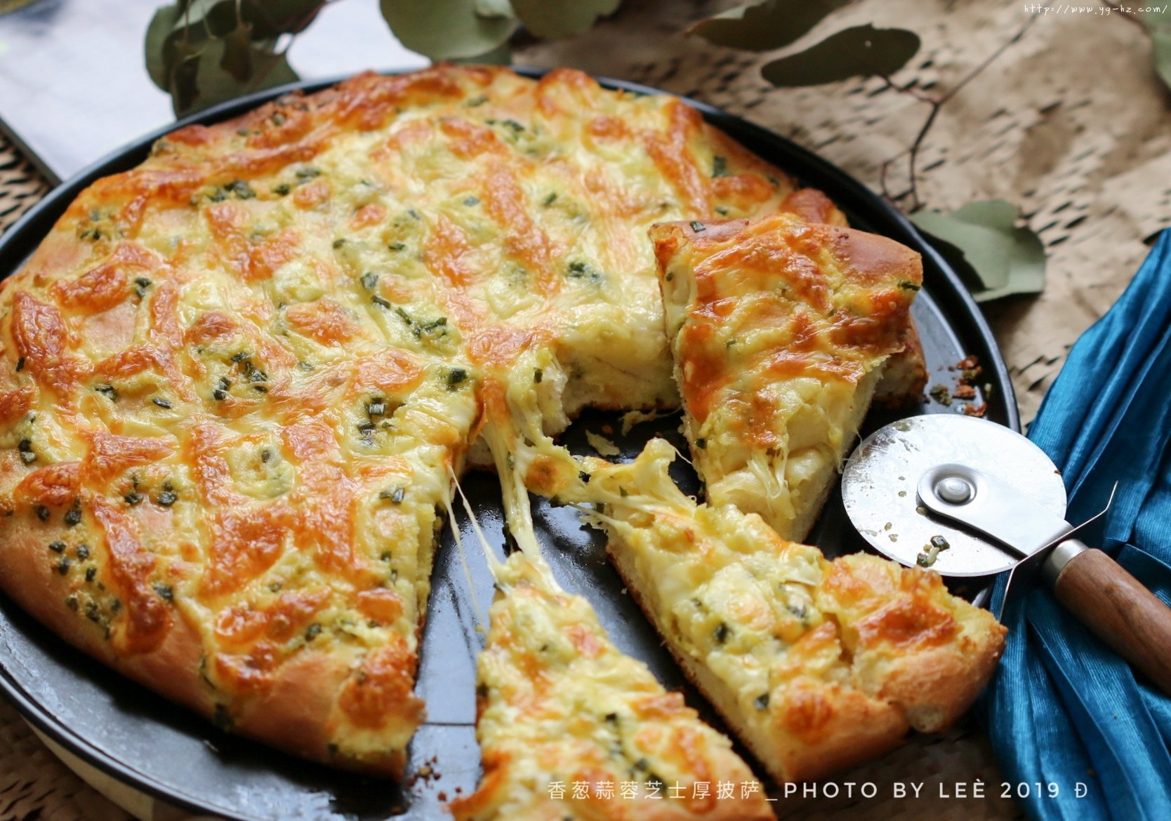 香葱蒜蓉芝士厚披萨的做法