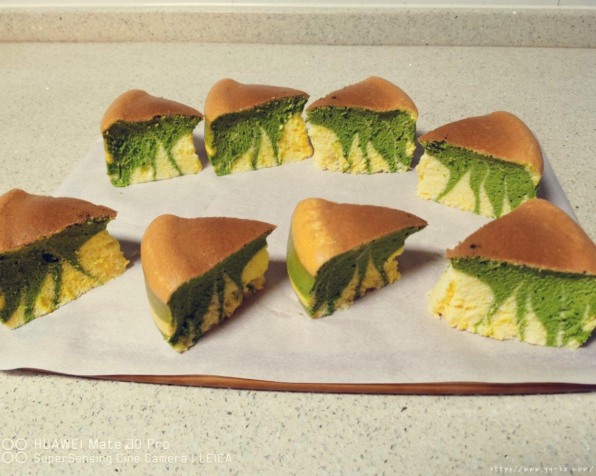 电饭锅版抹茶酸奶双色斑马纹戚风蛋糕的做法