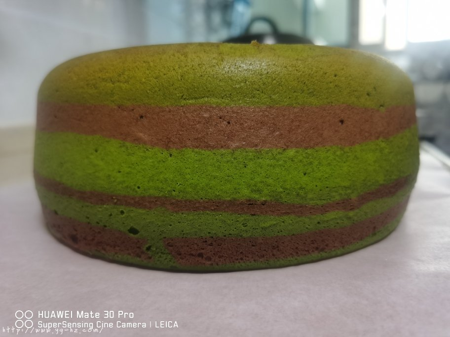 电饭锅版抹茶酸奶双色斑马纹戚风蛋糕的做法 步骤16