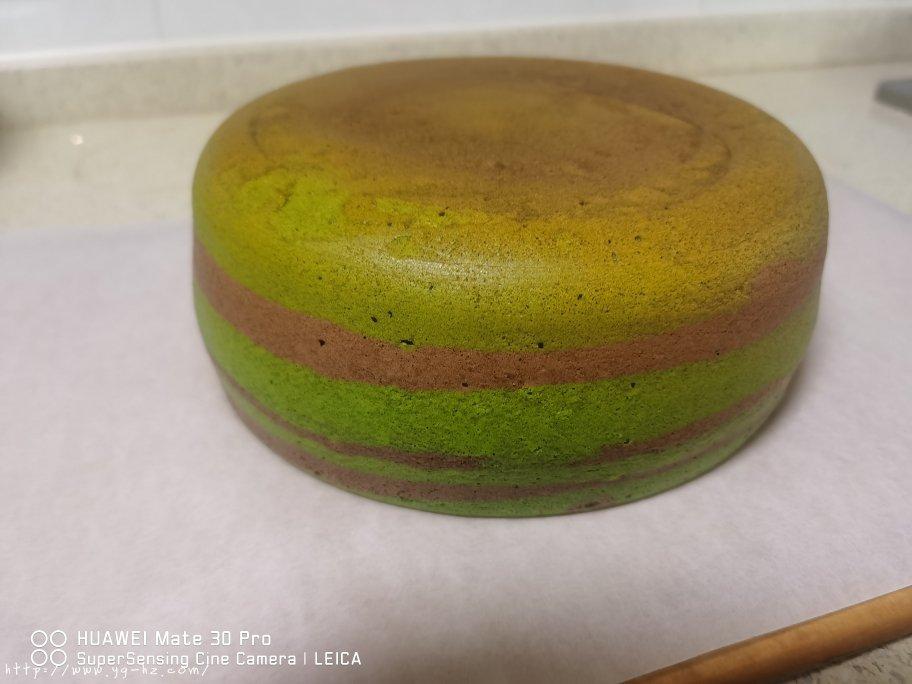 电饭锅版抹茶酸奶双色斑马纹戚风蛋糕的做法 步骤17