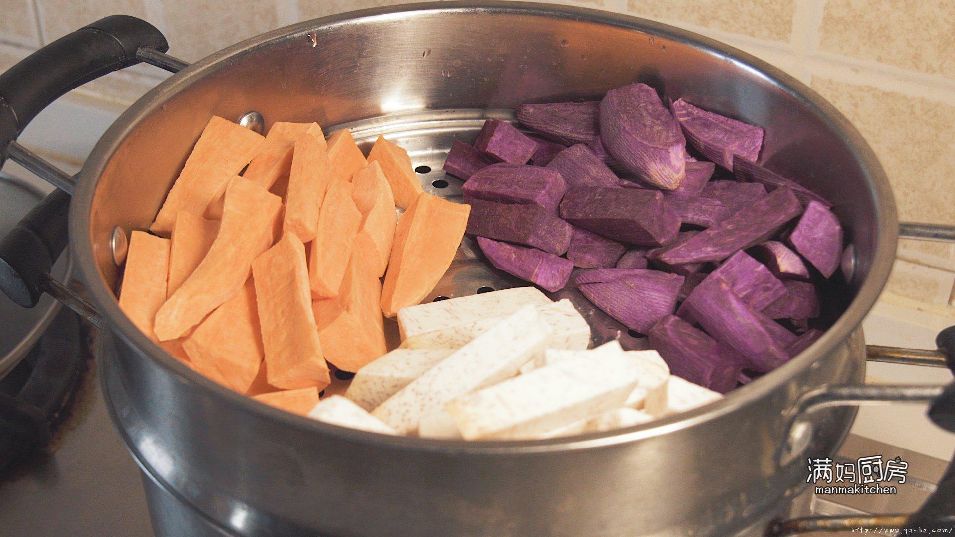 三色芋圆 在家就能做鲜芋仙 干嘛还要出去买的做法 步骤1